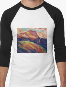 Marsden Hartley - Mont Sainte-Victoire. Mountains landscape: mountains, rocks, rocky nature, sky and clouds, trees, peak, forest, rustic, hill, travel, hillside Men's Baseball ¾ T-Shirt
