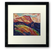 Marsden Hartley - Mont Sainte-Victoire. Mountains landscape: mountains, rocks, rocky nature, sky and clouds, trees, peak, forest, rustic, hill, travel, hillside Framed Print