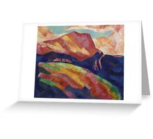 Marsden Hartley - Mont Sainte-Victoire. Mountains landscape: mountains, rocks, rocky nature, sky and clouds, trees, peak, forest, rustic, hill, travel, hillside Greeting Card