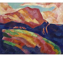 Marsden Hartley - Mont Sainte-Victoire. Mountains landscape: mountains, rocks, rocky nature, sky and clouds, trees, peak, forest, rustic, hill, travel, hillside Photographic Print