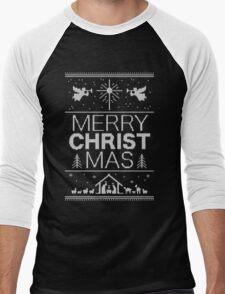 Ugly Christmas Sweater - Red - Merry Christ Mas - Religious Christian - Jesus Men's Baseball ¾ T-Shirt