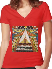 Marsden Hartley - Painting No. 50. Abstract painting: abstract art, geometric, expressionism, composition, lines, forms, creative fusion, spot, shape, illusion, fantasy future Women's Fitted V-Neck T-Shirt