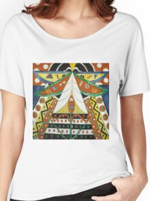 Marsden Hartley - Painting No. 50. Abstract painting: abstract art, geometric, expressionism, composition, lines, forms, creative fusion, spot, shape, illusion, fantasy future Women's Relaxed Fit T-Shirt