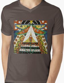 Marsden Hartley - Painting No. 50. Abstract painting: abstract art, geometric, expressionism, composition, lines, forms, creative fusion, spot, shape, illusion, fantasy future Mens V-Neck T-Shirt