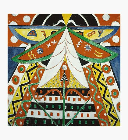 Marsden Hartley - Painting No. 50. Abstract painting: abstract art, geometric, expressionism, composition, lines, forms, creative fusion, spot, shape, illusion, fantasy future Photographic Print