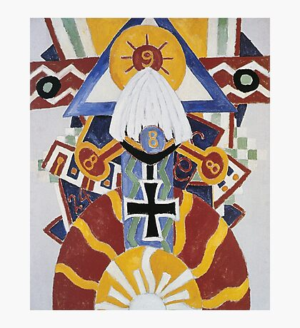 Marsden Hartley - Painting Number 49, Berline. Abstract painting: abstract art, geometric, expressionism, composition, lines, forms, creative fusion, spot, shape, illusion, fantasy future Photographic Print