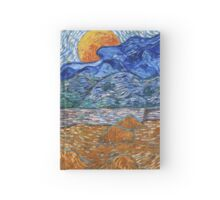 Landscape with wheat sheaves and rising moon -  Van Gogh Hardcover Journal