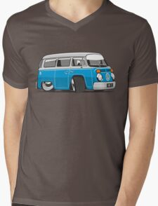 VW T2 Microbus cartoon blue Mens V-Neck T-Shirt