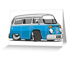 VW T2 Microbus cartoon blue Greeting Card