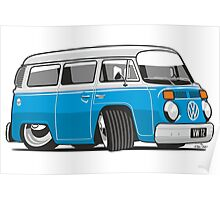 VW T2 Microbus cartoon blue Poster