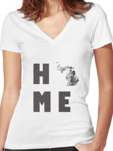 """Michigan """"HOME"""" Women's Fitted V-Neck T-Shirt"""