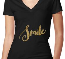 Golden Look Smile Women's Fitted V-Neck T-Shirt
