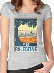 Vintage Travel Poster Visit Palestine Women's Fitted Scoop T-Shirt