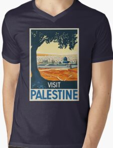 Vintage Travel Poster Visit Palestine Mens V-Neck T-Shirt