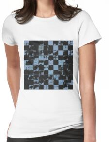 Blue and Black Bricks Pattern Womens Fitted T-Shirt