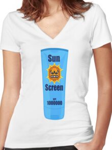 Sun Screen | Summer Collection. Women's Fitted V-Neck T-Shirt