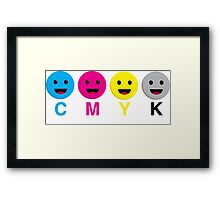 CMYK Scale Smiley Faces Framed Print