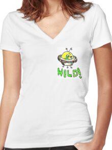 Crazy Wild Happy Alien Women's Fitted V-Neck T-Shirt