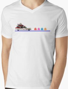Ghostbusters meets Pac-Man Mens V-Neck T-Shirt