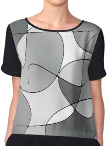 ABSTRACT CURVES-1 (Greys & White-3)-(9000 x 9000 px) Chiffon Top