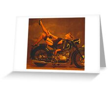 Model girl on BMW 1930's motorcycle Greeting Card