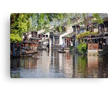 Cleaning the Canal Canvas Print