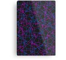 Abstract Geometric 3D Triangle Pattern in Blue / Pink Metal Print