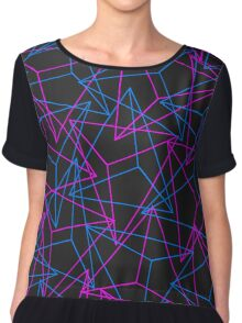 Abstract Geometric 3D Triangle Pattern in Blue / Pink Chiffon Top