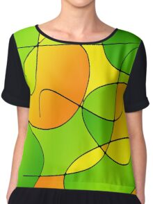 ABSTRACT CURVES-1 (Greens, Oranges & Yellows-3)-(9000 x 9000 px) Chiffon Top