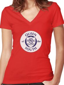 Queen of the South Badge - Scottish Championship Women's Fitted V-Neck T-Shirt