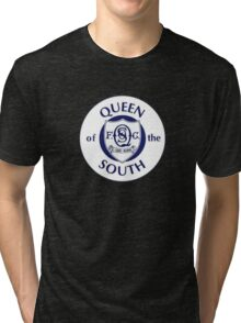 Queen of the South Badge - Scottish Championship Tri-blend T-Shirt