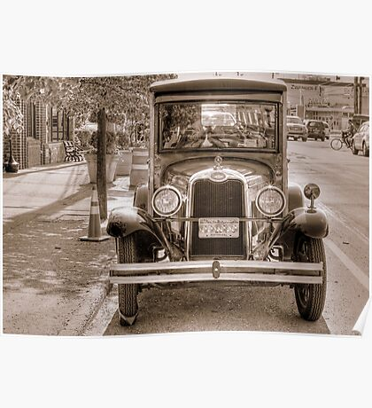 Old Restored Truck in modern Streets Poster