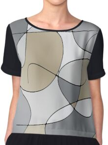 ABSTRACT CURVES-1 (Greys & Beiges)-(9000 x 9000 px) Chiffon Top