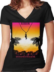 Bloodline Sunset  Women's Fitted V-Neck T-Shirt