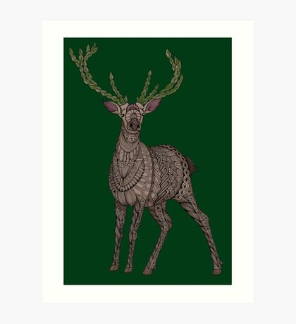 Stag on hunter green Art Print