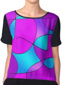 ABSTRACT CURVES-1 (Purples, Violets, Fuchsias & Turquoises)-(9000 x 9000 px) Chiffon Top