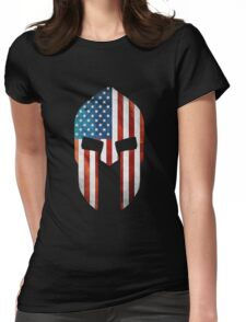 Spartan American Flag Grunge Womens Fitted T-Shirt