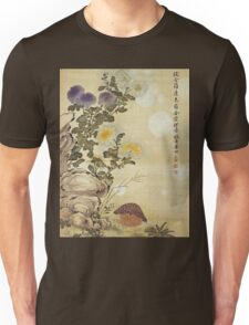 Ma Yuanyu - Chrysanthemums And Quail. Still life with flowers: flowers, blossom, Quail, Chrysanthemums, floral flora, wonderful flower, plants, cute plant for kitchen interior, garden,  Bird Unisex T-Shirt