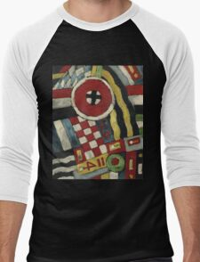 Marsden Hartley - Berlin Abstraction. Abstract painting: abstract art, geometric, expressionism, composition, lines, forms, creative fusion, spot, shape, illusion, fantasy future Men's Baseball ¾ T-Shirt