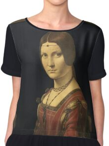 Leonardo Da Vinci - Portrait Of A Lady . Woman portrait: sensual woman,  italian, female style, pretty women, femine, beautiful dress, cute, creativity, love, sexy lady, lady Chiffon Top