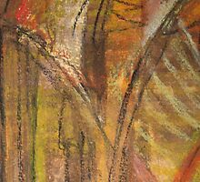 Windy Autumn - Section of Art Pastel Abstract  by Heatherian