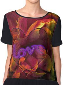 Rose with heart & neon love Chiffon Top