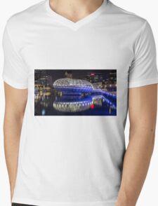 Webb Bridge by night at the Docklands, Melbourne Mens V-Neck T-Shirt