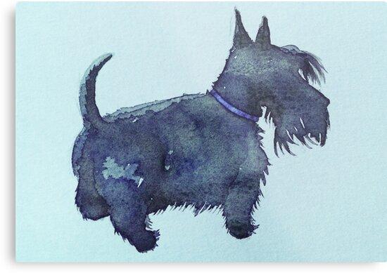 Scottie watercolour (blue) by BonniePortraits