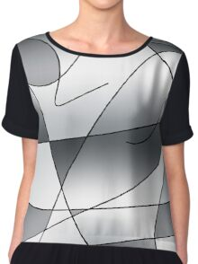 ABSTRACT CURVES-2 (Greys)-(9000 x 9000 px) Chiffon Top