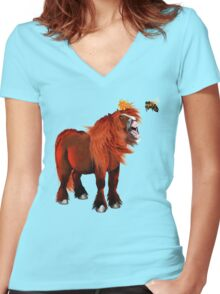 Pony and Bee Women's Fitted V-Neck T-Shirt