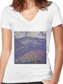 Marsden Hartley - Hall Of The Mountain King. Mountains landscape: mountains, rocks, rocky nature, sky and clouds, trees, peak, forest, rustic, hill, travel, hillside Women's Fitted V-Neck T-Shirt