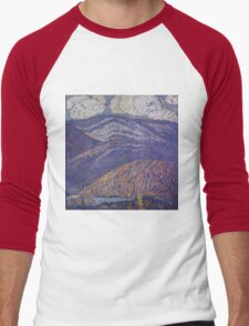 Marsden Hartley - Hall Of The Mountain King. Mountains landscape: mountains, rocks, rocky nature, sky and clouds, trees, peak, forest, rustic, hill, travel, hillside Men's Baseball ¾ T-Shirt
