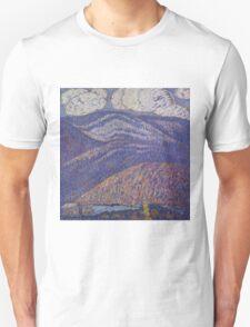 Marsden Hartley - Hall Of The Mountain King. Mountains landscape: mountains, rocks, rocky nature, sky and clouds, trees, peak, forest, rustic, hill, travel, hillside Unisex T-Shirt