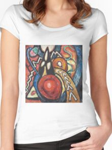 Marsden Hartley - Movements. Abstract painting: abstract art, geometric, expressionism, composition, lines, forms, creative fusion, spot, shape, illusion, fantasy future Women's Fitted Scoop T-Shirt